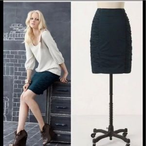Anthro Cartonnier Ruched Blue Pencil Skirt Size 6